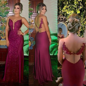 Wholesale Elegant Evening Formal Dresses 2019 Mermaid Arabic Special Occasion Prom Gowns With Beaded Appliques Floor Length Robes Long robes de soirée