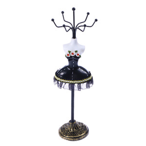 Creative Cute Dress Model Jewelry Display Stand Necklace Earrings Jewelry Rack Hanging Display Stand (Black)