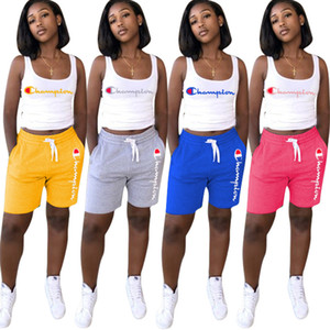 Wholesale women Champions suit Sports 2 piece set yoga outfits sleeveless t-shirt+shorts crop top casual shorts sportswear yoga plus size s-3xl 172