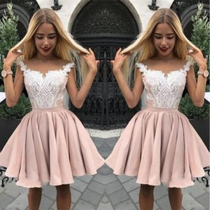 Pretty Sleeveless Lace Homecoming Dresses Applique A-Line 2019 Short Party Dresses Champagne Short mini Temperament Sweet Design Ball Gown