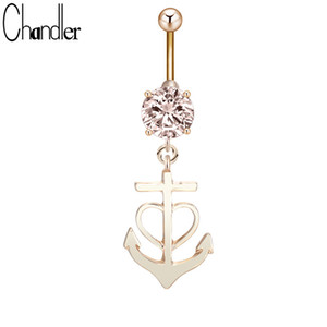 Wholesale Anchor Dangle Belly Button Ring Surgical Steel Anti allergy Piercing Bar Body Jewelry Gold Color Plated Female Luxury