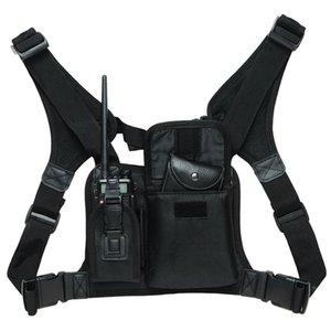 Wholesale radio ham resale online - 10pcs Walkie talkie Chest Pocket Backpack Black for Ham CB Radio very convenient carry bag