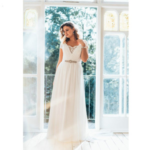 Wholesale Princess Custom Lace Boho Pleated Crystal Beaded Sash Short Sleeve Sheath Plus Size Wedding Dress V Neck Summer Beach Bridal Gowns Elegant