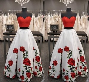 Wholesale Fashion Red and White 2 Pieces Prom Party Dresses Printed Rose Flowers Corset Floor Length Satin Ruched Evening Formal Dress Long Cheap