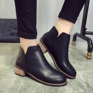 Wholesale Winter Women Short Boots Fashion Women Martin Boots Scrub Thick High Heel Lady Ankle Solid Shoes sapato feminino