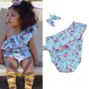 Wholesale Newborn Baby Girls Floral Romper Oblique Shoulder Bodysuit Jumpsuit With Bow Headband Clothes Flower Blue Baby Climbing Clothing