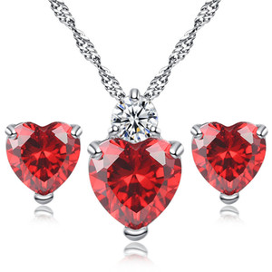 Wholesale platinum girls earrings resale online - Platinum Plated Jewelry Set Girl Silver Zircon Heart Design Stud Earring Pendant Necklace Sets Women Party Gift Fashion Cubic Zirconia Charm