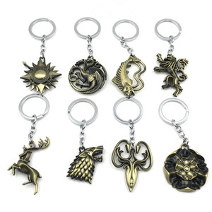 10PCS Game of Thrones Keychain Wolf head Badge Key Chains Song of Ice and Fire House Stark Pendant Women key holder Men Novelty Souvenirs