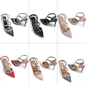 Wholesale Design shoe women high heels dress shoes party fashion rivets girls sexy pointed toe shoes buckle platform pumps wedding shoes with shoe box