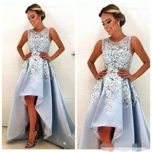 Elegant Light Blue Evening Dresses with 3D Floral Applique Beaded Sleeveless Scoop Neck High Low Sweep Train Formal Prom Party Gown on Sale