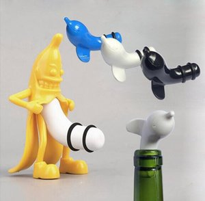 Wholesale 1PC Dolphin Banana Wine Stopper Novelty Bar Tools Man Vacuum Glass Wine Cork Bottle Stopper Plug OK