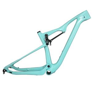 Blue Full Suspension 29er Mountain Bike Frames T800 Carbon Fiber MTB Bicycle Frameset BB92 UD Matte Glossy