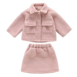 Wholesale New woolen girls suits fashion kids outfits kids designer clothes girls coat jacket skirts big girls clothes A9008