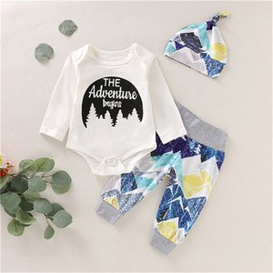 Wholesale Newborn Toddler Baby Girl Boy Autumn Long Sleeve Casual The Adventure Romper Long Pants Leggings Outfits Set Clothes