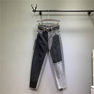 Wholesale Smoky Gray High Waist Jeans Woman Streetwear Pants Full Length Bleach Wash Button Fly Fake Zippers Vintage Regular Straight