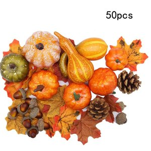 Artificial Pumpkins Home Decoration Set Thanksgiving Harvest Decoration Maple Leaves Acorns Pinecones DEC568