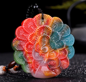 Wholesale Xinjiang Gobi Golden Silk Jade Chicken Blood Jade Floating Flower Peacock Open Screen Pendant Colorful Jade Lucky Peacock Pendant Pendant