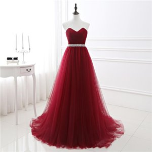 Wholesale 2019 Sexy Burgundy Organza Prom Dresses Custom Sweetheart Sweep Train Evening Gowns Plus Size Beads Sash Lace Up Party Cocktail Dress