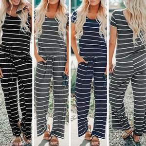 Wholesale 2019 New Casual Women Striped jumpsuits Rompers Short sleeve String Women clothing Trendy Pants Free DHL China Wholesaler
