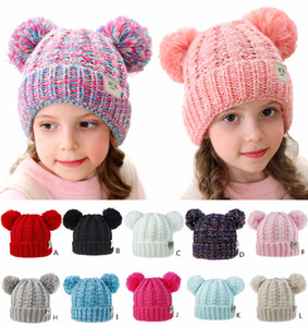 Kids Beanies Pompom hats Knitted BonnetFashion gorro Girls Winter Warm Hat Weave Beanies Hat 12 Colors