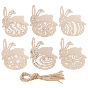 Wholesale decorative wood ornaments for sale - Group buy Easter Rabbit Wooden Hanging Pendant Ornaments Wood Crafts Tags Decorative Pendants Easter Decorations Party Favors JK2002
