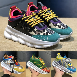 Wholesale Designer Black Multi Color Rubber Suede Chain Reaction Luxury Casual Shoes Cheap Fashion Platform Black White Red Men Women Sneakers