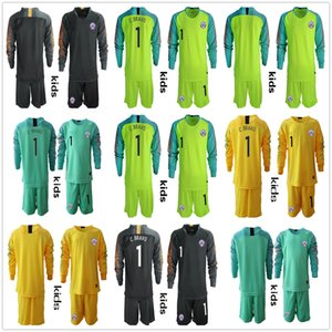 Wholesale Long Sleeve Youth Kids Boys Soccer Jerseys C BRAVO Chile Goalkeeper National Team GK Jerseys Kid Football VALDIVIA Kid Uniform