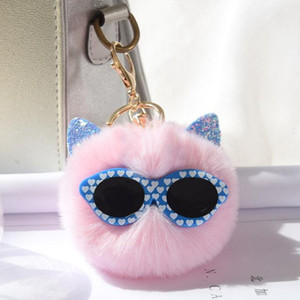 Wholesale 2019 New Design Hot Fashion Keyring Cat Animal Shape Sun Glass Decorative Faux Rabbit Fur Ball Pompom Keychains for Women Bags