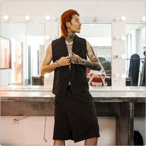 Wholesale 2019 summer men s striped vest skirt pants suit fashion vest hair stylist business casual sets men s clothing