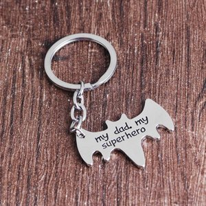 Wholesale My Dad My Superhero Keychains Creative Letter Animal shape Keyrings Simple Car Key Holder The Avengers Cartoon Accessories