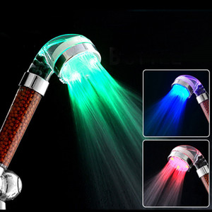 Wholesale HOT LED Anion Shower SPA Shower Head Pressurized Water Saving Temperature Control Colorful Handheld Big Rain Shower