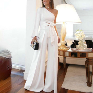 Modest White Two Pieces Pant Suit Prom Dresses One Shoulder Long Sleeve High Waist Daily Clothes Ankle Length Women's Outfit for Party