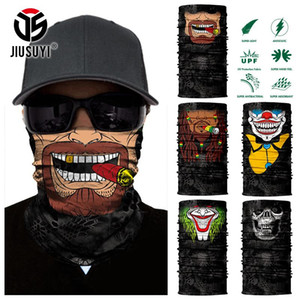 3D Seamless Headband Beard Man Joker Clown Skeleton Skull Neck Warmer Half Face Mask Head Scarf Bandana Sun Protection