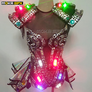 LED light suits women robot luminous costume led clothes stage dance performance show dress for nightclub dj disco stage effect