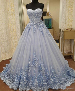 Wholesale New 3D Flower Sweet 16 Dresses Sweetheart Sleeveless Sexy Lace Back Ball Gown Prom Dress Quinceanera Formal Party Evening Wear Real Pictures