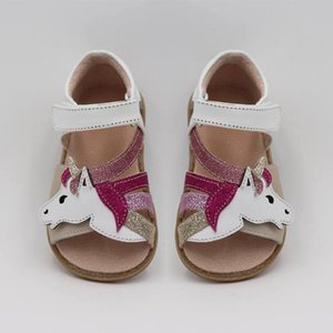 Wholesale Tipsietoes Top Brand Unicorns Soft Leather In Summer New Girls Children Barefoot Shoes Kids Sandals MX190727