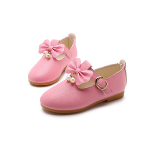 Wholesale Spring Children Elegant Princess Sandals Kids Girls Wedding PU Leather Shoes Dress Party Beaded Shoes Girls White black pink