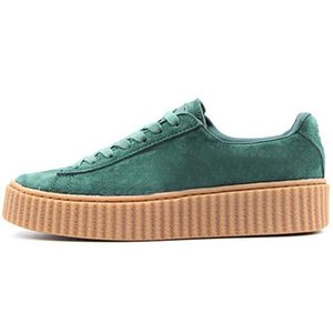 Wholesale Rihanna Fenty Creeper PM Classic Basket Platform Casual Shoes Velvet Cracked Leather Suede Men Women Fashion mens Designer Sneakers004