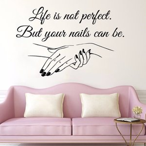 Wholesale Window Vinyl Decal Nail Salon Quote Woman s hands Wall Sticker Nail Art Polish Wall Mural Beauty Salon Decoration Manicure Vinyl Art