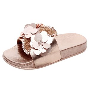 Wholesale JAYCOSIN Womens Flat Slides Sandals Diamante Sparkly Sliders Sequin Flower Slippers Shoes Beauty Beach Shoes Women Summer