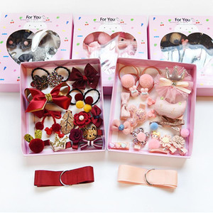 New Style Girls Hair Bows Kits Handmade Hairclips Hair Ties Crown Hairgrips Kids Barrettes Infant Baby Girls Boutique Hairbands Hair Accesso