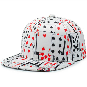 Wholesale Win or Lose Hip Hop Flat Bill Snapback Printed Poker Baseball Cap Panel Curved Visor White Black Two Design