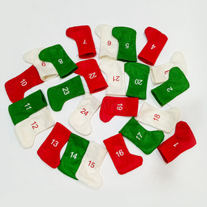Wholesale Christmas Digital Socks Hanging Decor DIY Advent Calendar Countdown Christmas Felt Gift Calendar Garland Stockings Decoration props FFA3246