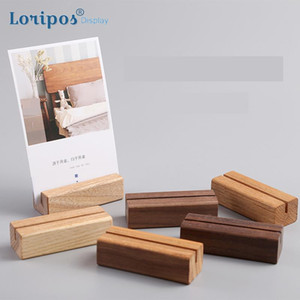 Wholesale memo clip note holder resale online - Wood Card Holder Wedding Postcard Organizer Wooden Creative Desk Sign Price Tag Display Memo Note Clip Picture Photo Clip Stand