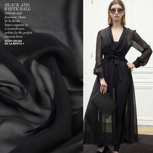 Wholesale cloths for sale resale online - Classic Black Silk Georgette Chiffon Fabric for Women Dress cm Wide Momme Sand Wash Cloth for Diy Sewing Sale Hot New