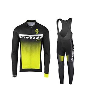 Wholesale SCOTT team custom made Cycling jersey bib pants sets Outdoor road mountain bike mens Long sleeves riding sport clothes Q70253
