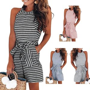 Wholesale Women Summer Striped Sleeveless Back Zipper Short Rompers Jumpsuits New Women Rompers