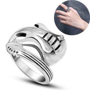 Wholesale Fashion Men Women Guitar Shaped Ring Jewelry Stainless Titanium Steel Punk Rock Party Ring