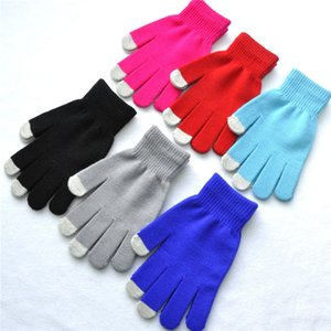 Wholesale Free DHL Women Men Touch Screen Gloves Winter Warm Gloves Solid Color Children Knitted Mittens Styles H924Q F