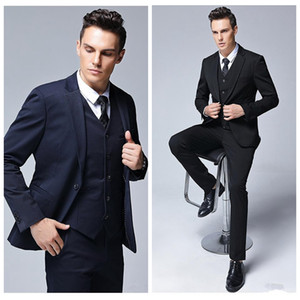 Wholesale three piece elegant pant suit resale online - Elegant Men Groom Wedding Suits Slim Fitted Bridegroom Tuxedos Men Two Pieces Groomsmen Suit Groomsmen Formal Business Jackets Pant Vest